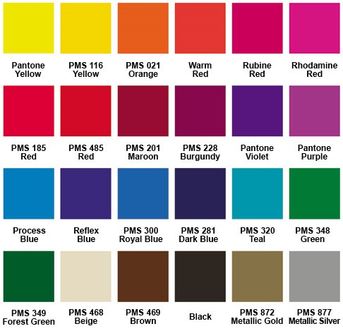 Standard Imprint Color Chart